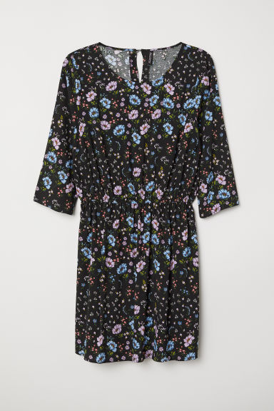H&M+ Patterned dress - Black/Blue floral - Ladies | H&M