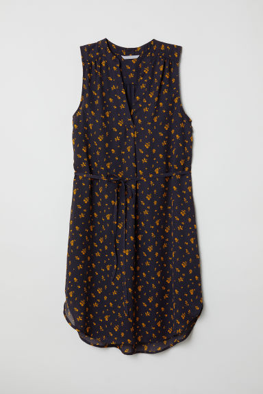 Crêpe dress - Dark blue/Floral - Ladies | H&M CN