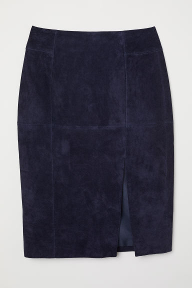 Suede pencil skirt - Dark blue - Ladies | H&M