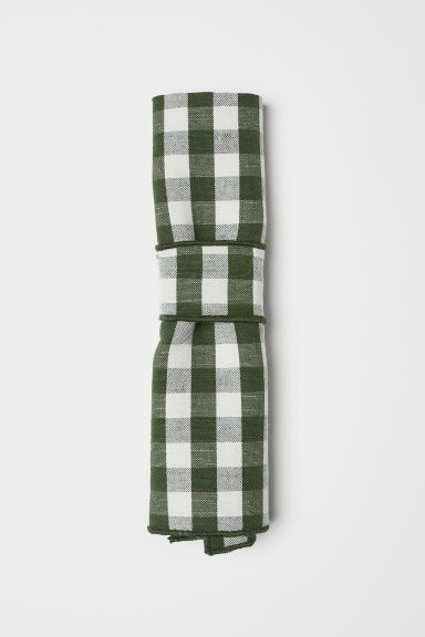 Checked linen-blend napkin - Green/Checked - Home All | H&M CN
