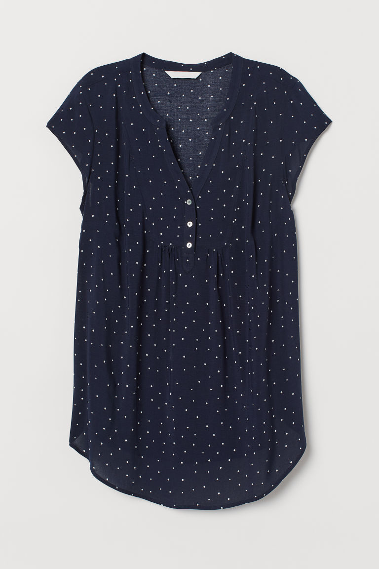 MAMA Short-sleeved blouse - Dark blue/Spotted - Ladies | H&M