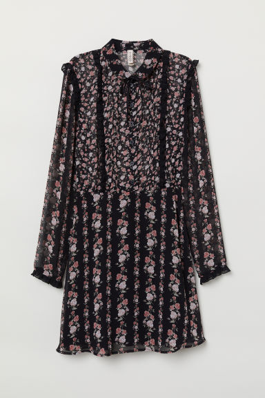 Ruffled Chiffon Dress - Black/floral -  | H&M US