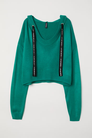 Fine-knit hooded jumper - Emerald green - Ladies | H&M CN