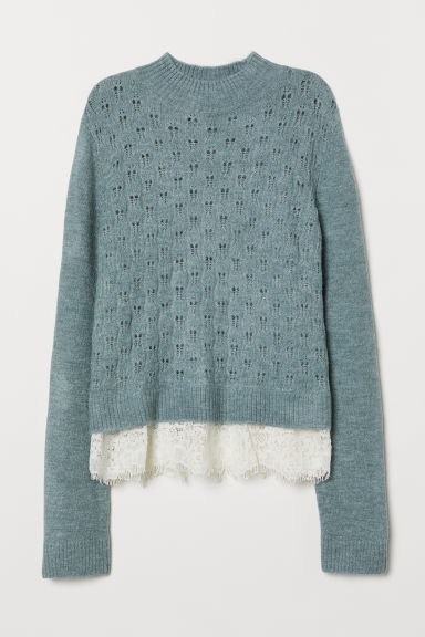 Fine-knit jumper with lace - Blue-grey -  | H&M