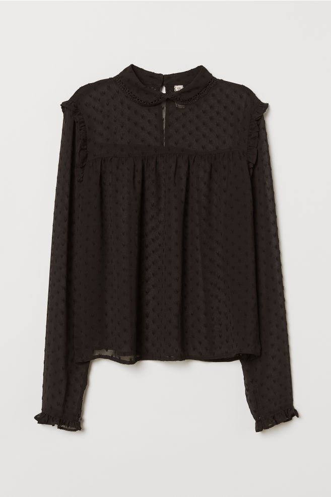 c3c35092b52961 Chiffon blouse - Black -   H&M ...