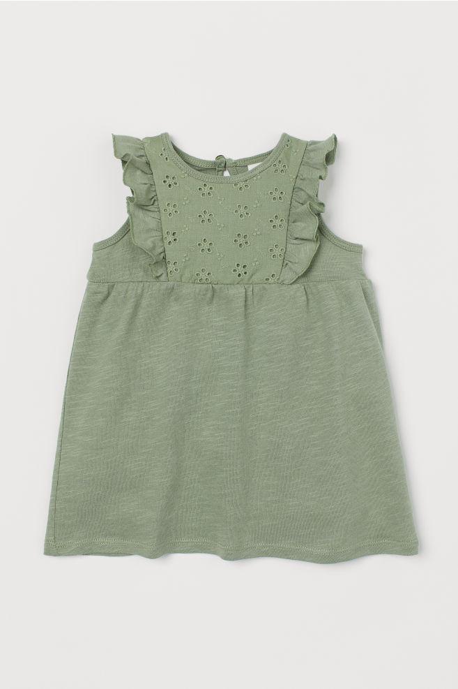 57601d64e4fa Slub jersey dress - Green/Embroidery - Kids | H&M ...