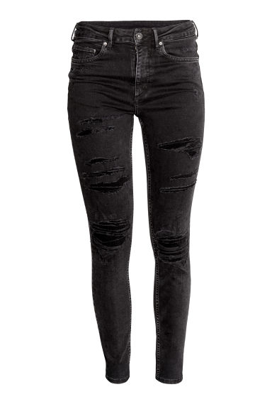 Skinny High Ankle Jeans - Black denim - Ladies | H&M