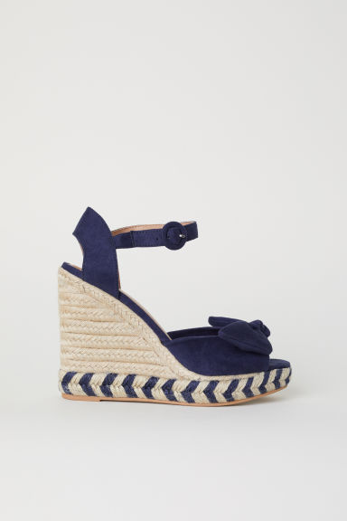 Wedge-heel sandals - Dark blue -  | H&M
