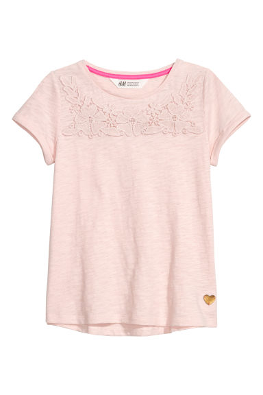 Short-sleeved top - Light pink/Lace -  | H&M