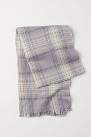 Checked scarf - Light grey/Checked - Ladies | H&M CN