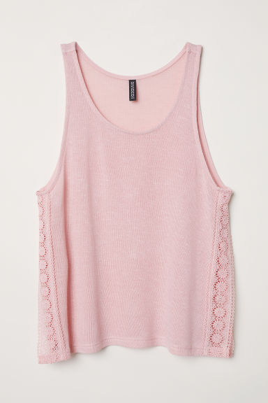 Lace-trimmed vest top - Old rose -  | H&M CN