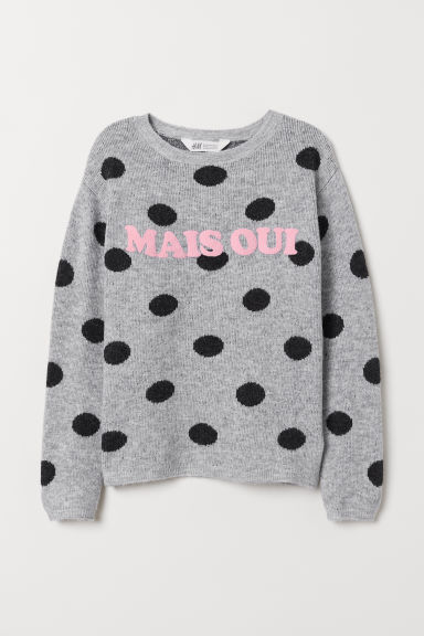 Knitted jumper with a motif - Light grey marl/Spotted - Kids | H&M