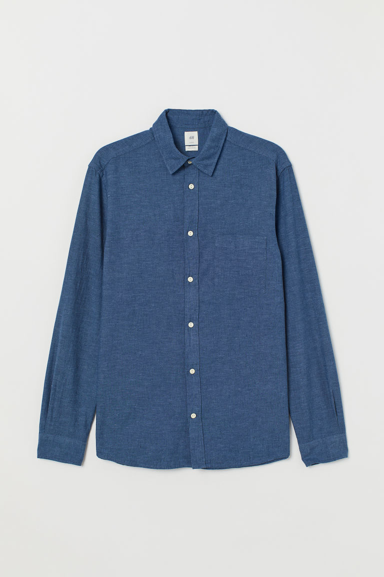 Linen-blend shirt Regular Fit - Dark blue - Men | H&M IE