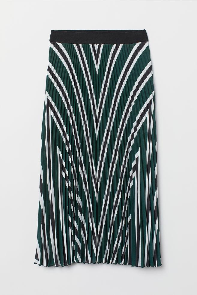 ed741db49021 Pleated skirt - Dark green/Striped - Ladies | H&M ...
