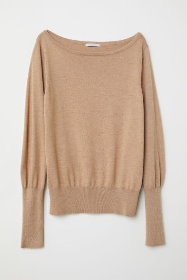 Fine-knit jumper - Beige marl - Ladies | H&M CN