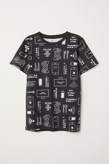 Printed T-shirt - Black/Patterned - Kids | H&M CN