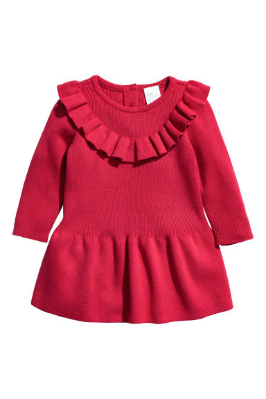 Knitted cotton dress - Red -  | H&M