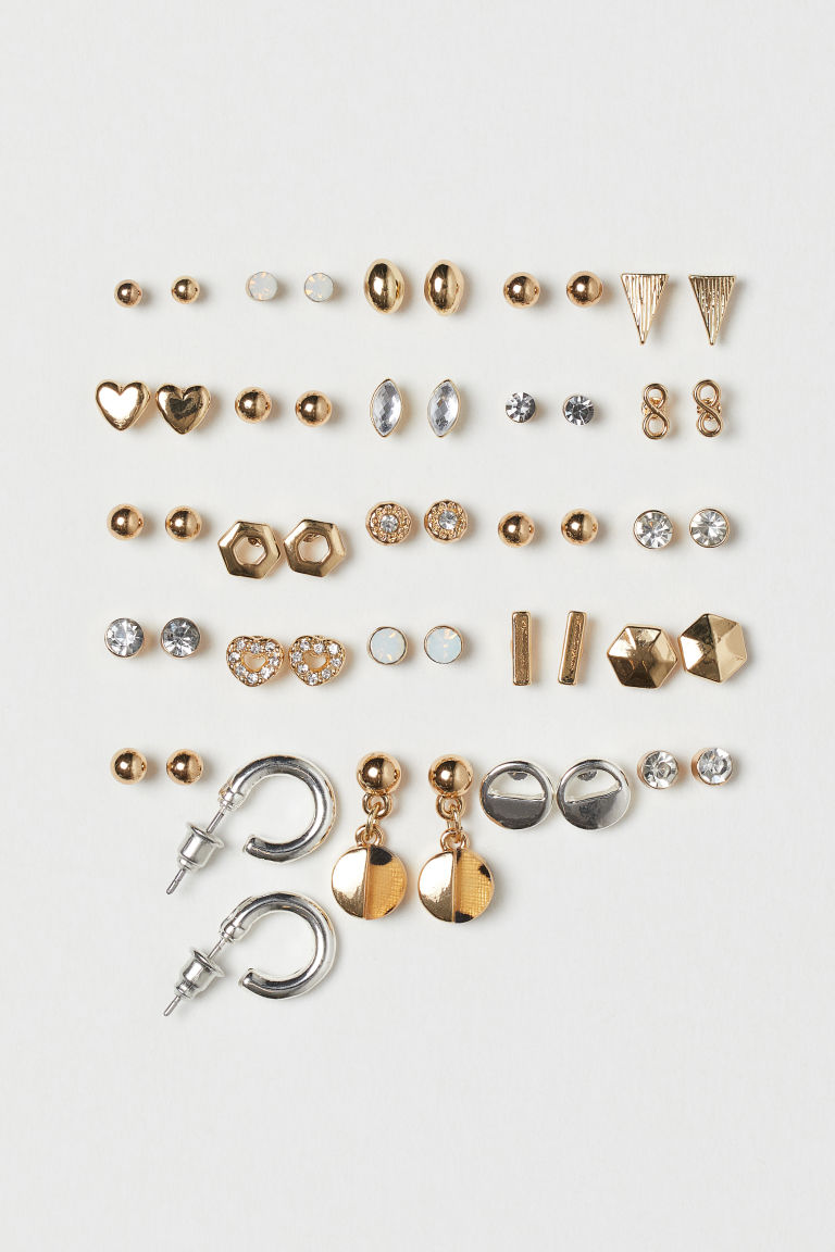 25 pairs stud earrings - Gold-coloured/Silver-coloured - Ladies | H&M GB