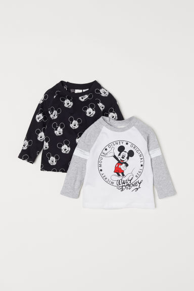 2-pack long-sleeved tops - Black/Mickey Mouse - Kids | H&M