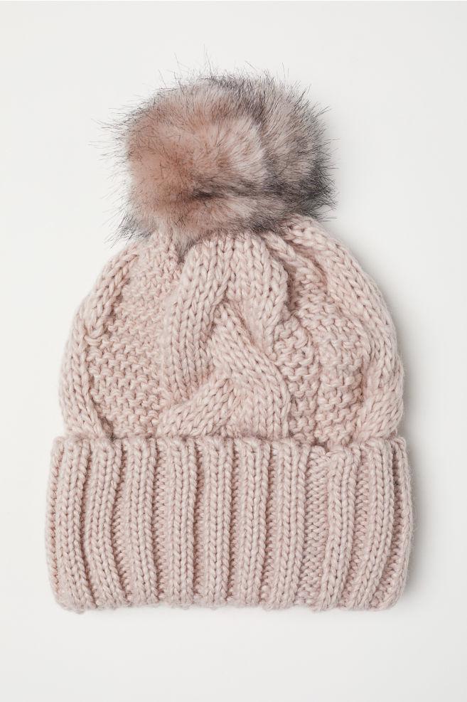 Cable-knit hat - Powder pink - Ladies  8d01dd36625