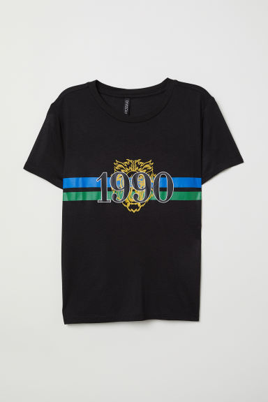 T-shirt with a motif - Black/1990 - Ladies | H&M