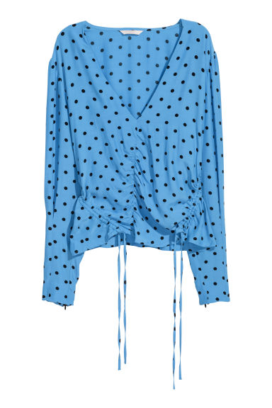 V-neck blouse with drawstrings - Light blue/Black spotted - Ladies | H&M