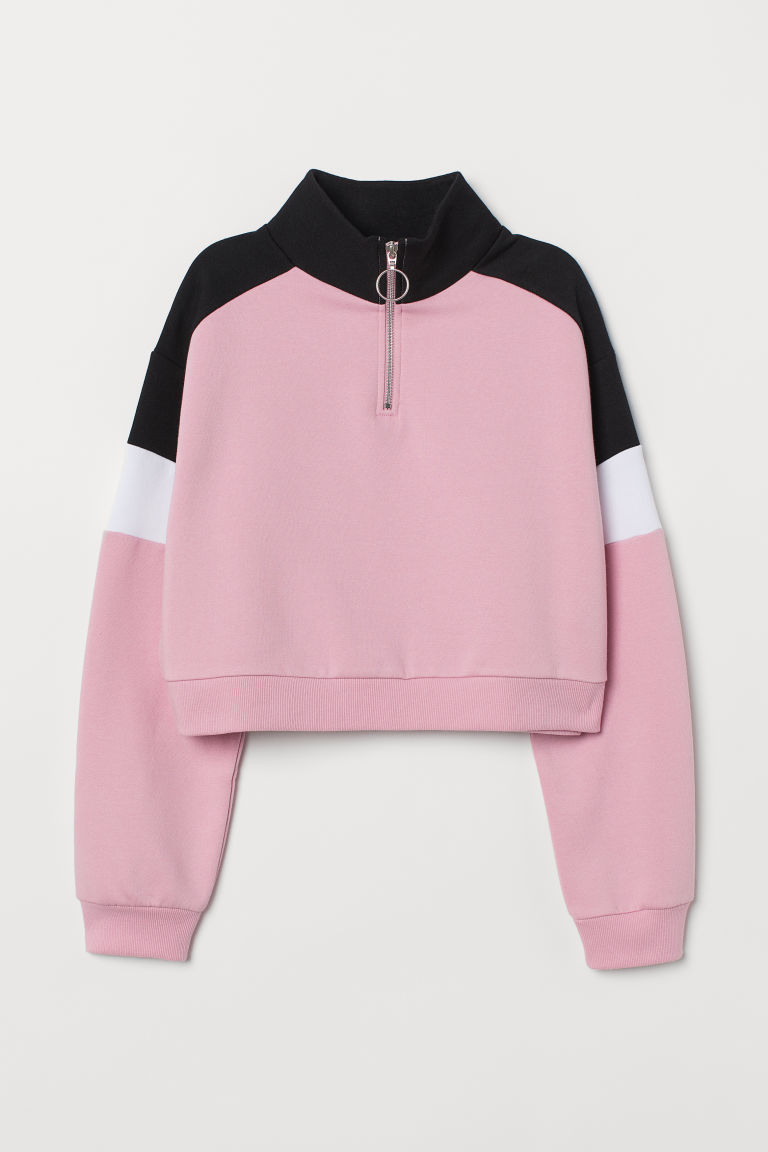 Stand-up collar sweatshirt - Light pink/Block-coloured -  | H&M IE