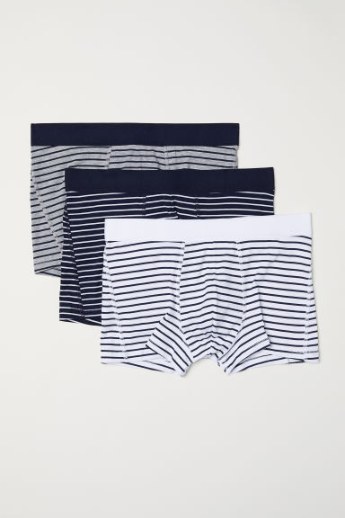 3-pack short trunks - Dark blue/Striped - Men | H&M