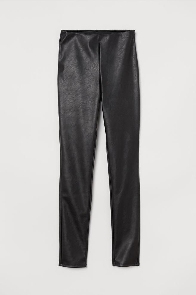 602675ced2 High-waist Pants - Black/faux leather - Ladies | H&M ...