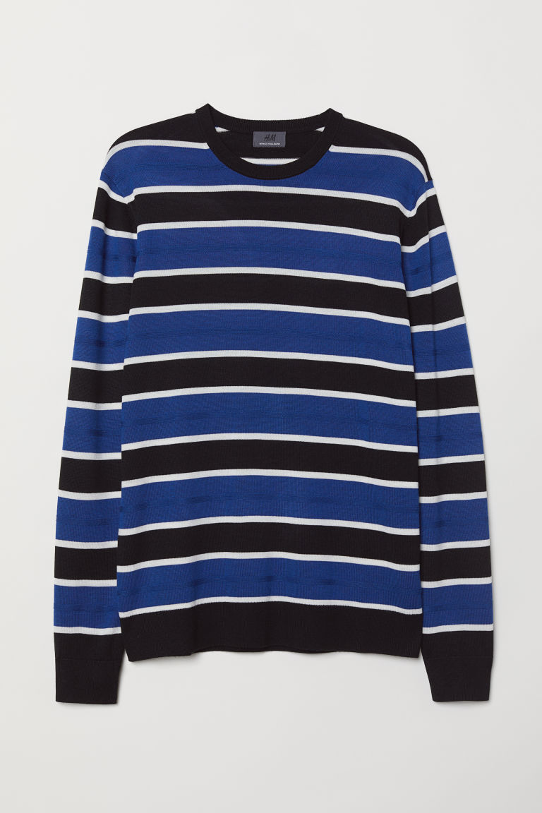 Wool-blend jumper - Black/Striped - Men | H&M