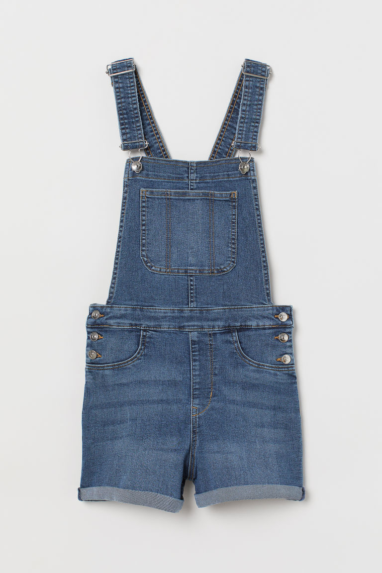 Denim Bib Overall Shorts - Dark blue -  | H&M US