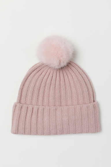 Ribbed hat - Powder pink -  | H&M CN