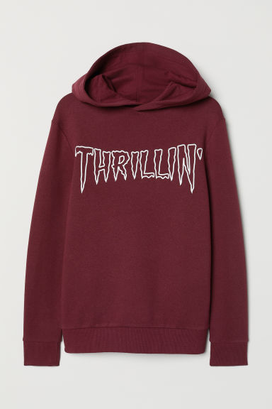 Printed hooded top - Dark red/Thrillin' - Kids | H&M CN
