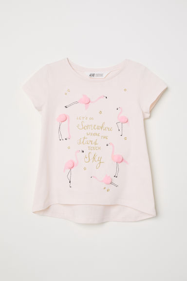 Jersey top with a motif - Powder pink/Pompoms -  | H&M