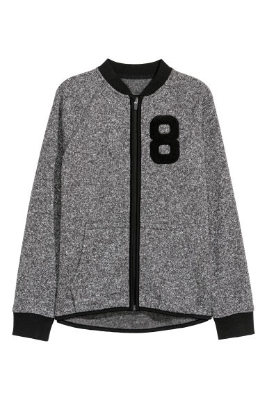 Knitted fleece jacket - Grey marl -  | H&M