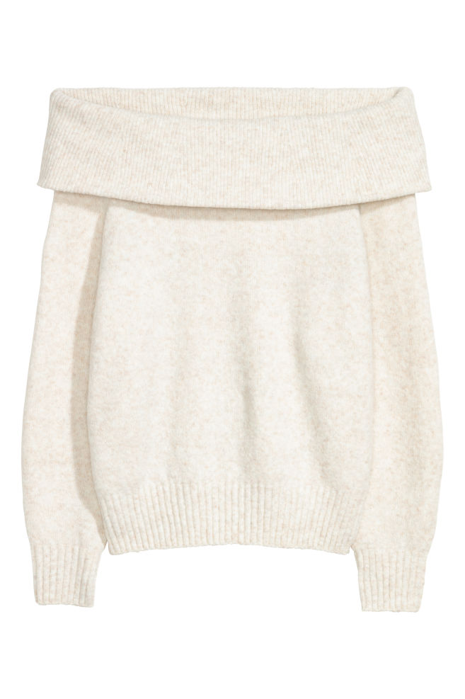 4b7d49bad4e61f Off-the-shoulder Sweater - Natural white - Ladies