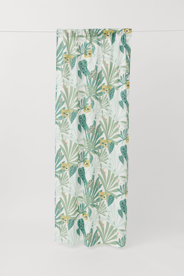 Patterned curtain length - Green/Jungle - Home All | H&M CN
