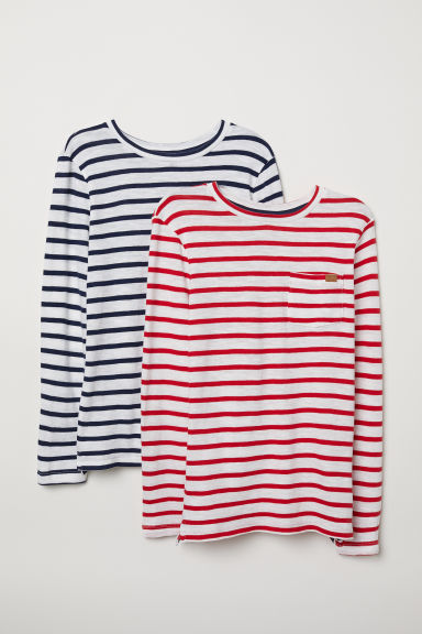 2-pack jersey tops - Dark blue/Red - Kids | H&M