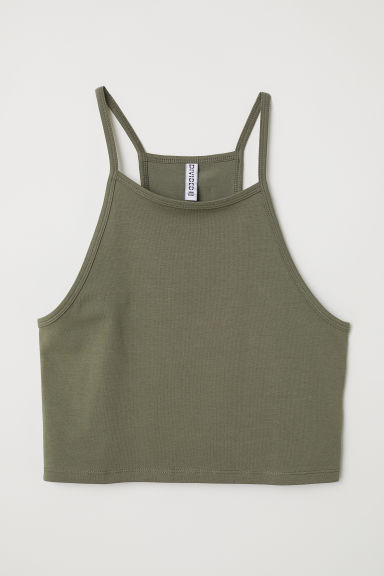Short strappy top - Dark khaki green - Ladies | H&M CN