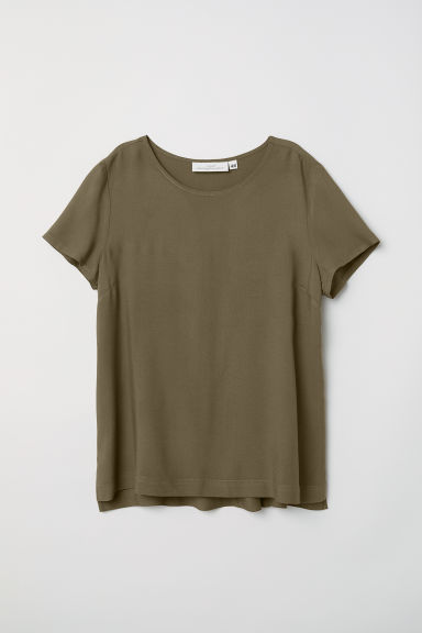 Short-sleeved blouse - Khaki green - Ladies | H&M