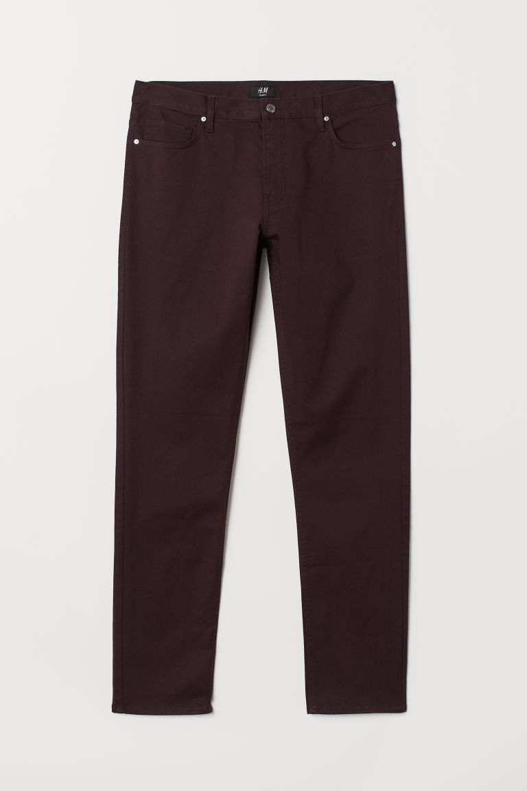 Twill trousers Slim fit - Burgundy - Men | H&M