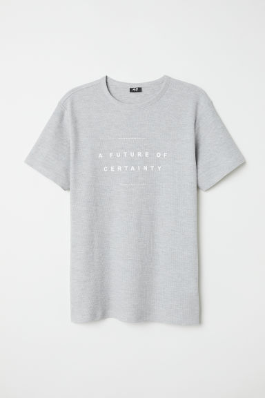 Cotton piqué T-shirt - Light grey - Men | H&M