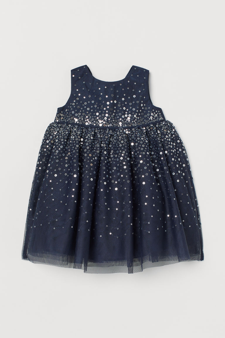 Tulle Dress with Sequins - Dark blue - Kids | H&M CA