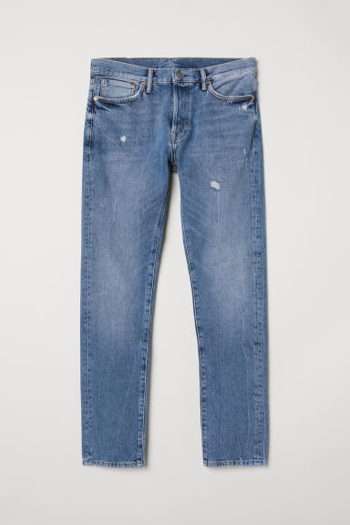 Slim Straight Jeans - Denim blue/Trashed -  | H&M IN