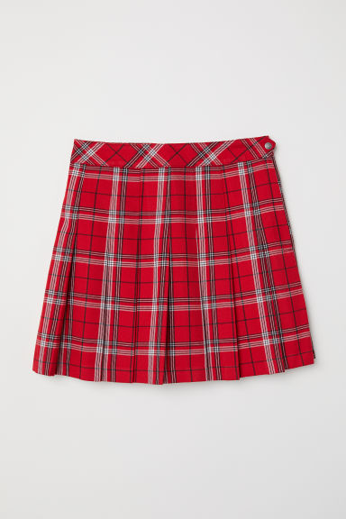 Pleated skirt - Red/Checked -  | H&M