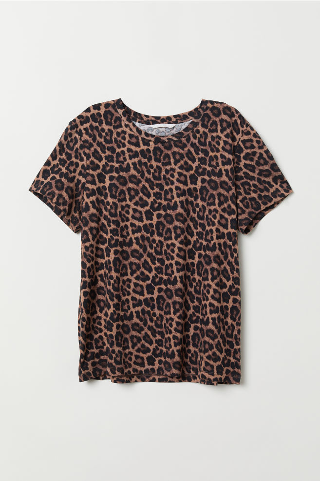 ed32acf2b0 T-shirt with Motif - Black/leopard print - | H&M ...