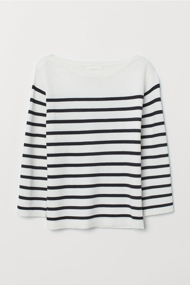 21e99d67f6b1 Fine-knit Sweater - White/dark blue striped - Ladies | H&M ...