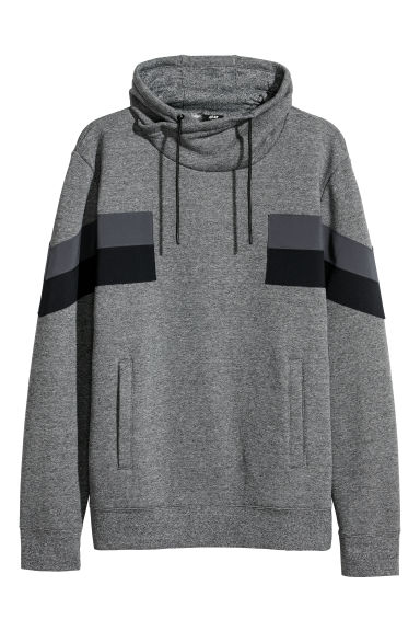 Felpa con collo a cratere - Grigio mélange/color block - UOMO | H&M IT