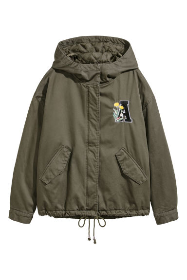 Short parka with a hood - Dark khaki green - Ladies | H&M