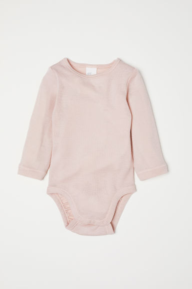 Wool bodysuit - Powder pink - Kids | H&M